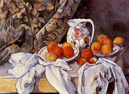 Still Life with Curtain and Flowered Pitcher, c.1894/95 by Cezanne | Painting Reproduction