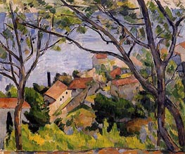 L'Estaque, View through the Trees | Cezanne | Painting Reproduction