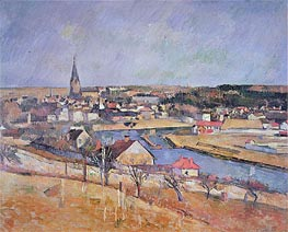 A French Village, undated by Cezanne | Painting Reproduction