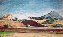 The Railway Cutting, c.1870 by Cezanne | Painting Reproduction