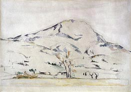 View of Mont Sainte Victoire - Study of a Tree | Cezanne | Painting Reproduction