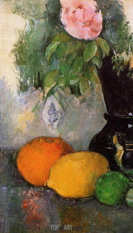 Flowers and Fruit, c.1880 | Cezanne | Painting Reproduction