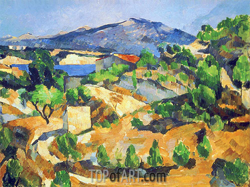 Mountains in Provence (L'Estaque), c.1879 | Cezanne | Painting Reproduction