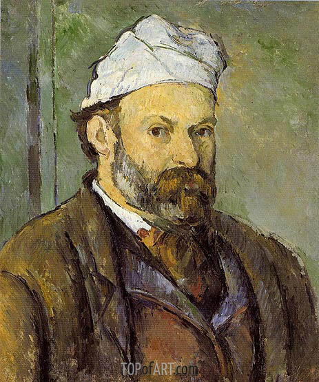 Self Portrait in a White Cap, c.1881/82 | Cezanne | Painting Reproduction