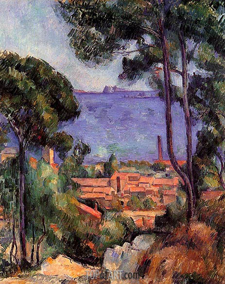 View through Trees, L'Estaque, c.1883/85 | Cezanne | Painting Reproduction