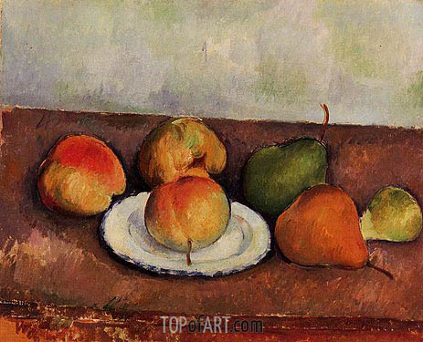 Still Life - Plate and Fruit, c.1888/90 | Cezanne | Painting Reproduction