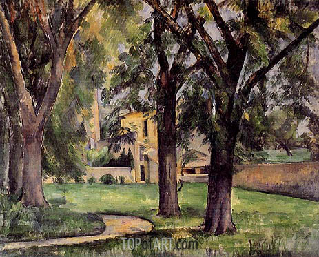 Chestnut Tree and Farm at Jas du Bouffan, c.1885 | Cezanne | Painting Reproduction