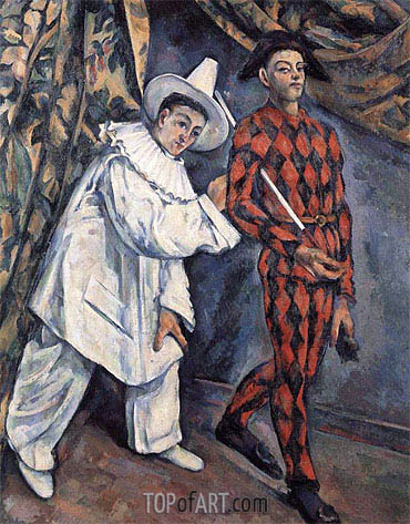 Pierrot and Harlequin (Mardi Gras), 1888 | Cezanne | Painting Reproduction