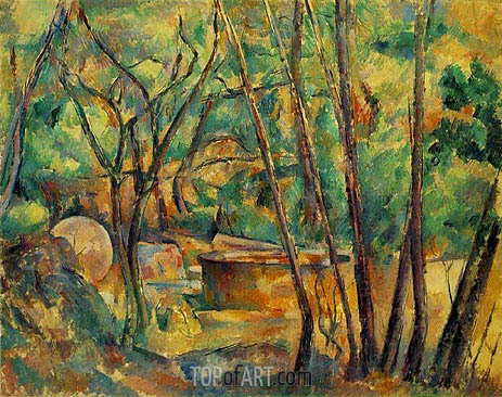 Well, Millstone and Cistern Under Trees, c.1892/94 | Cezanne | Painting Reproduction
