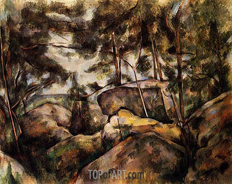Rocks at Fountainebleau, c.1893 | Cezanne | Painting Reproduction