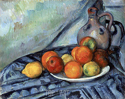 Fruit and Jug on a Table, c.1890/94 | Cezanne | Gemälde Reproduktion