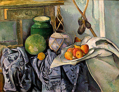 Still Life with a Ginger Jar and Eggplants, c.1890/94 | Cezanne | Painting Reproduction