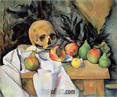 Still Life with Skull, c.1895/00 | Cezanne | Gemälde Reproduktion