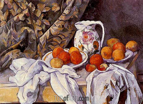 Still Life with Curtain and Flowered Pitcher, c.1894/95 | Cezanne | Painting Reproduction