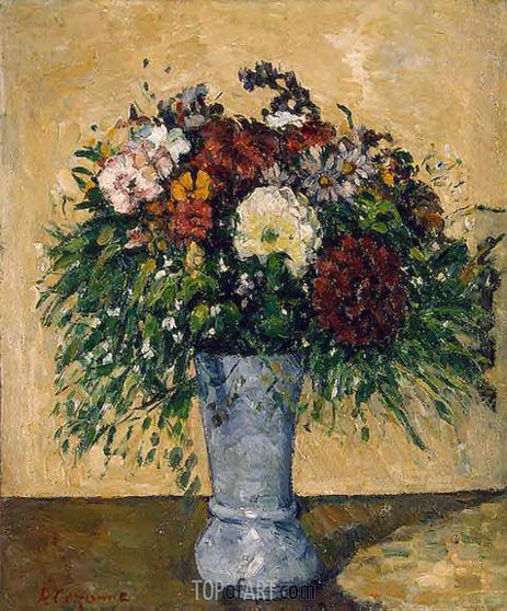 Flowers in a Blue Vase, c.1873/75 | Cezanne | Painting Reproduction
