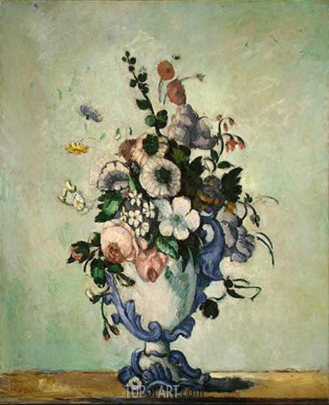 Flowers in a Rococo Vase, c.1876 | Cezanne | Painting Reproduction