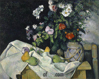 Still Life with Flowers and Fruit, c.1890 | Cezanne | Gemälde Reproduktion