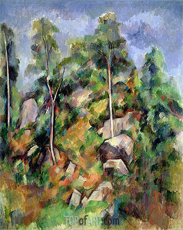 Rocks and Trees in Provence, c.1900 | Cezanne | Painting Reproduction