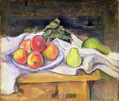 Still Life with Peaches and Pears, c.1890   Cezanne   Painting Reproduction