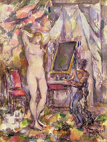 Interior with Nude, 1880 | Cezanne | Painting Reproduction