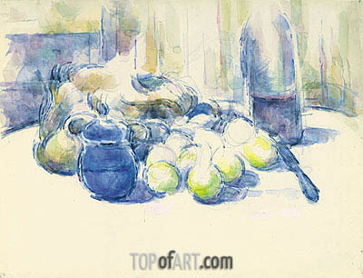 Still Life with Pears and Apples, Covered Blue Jar and a Bottle of Wine, undated | Cezanne | Gemälde Reproduktion