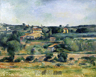 Landscape from the West of Aix-en-Provence, c.1885/88   Cezanne   Painting Reproduction
