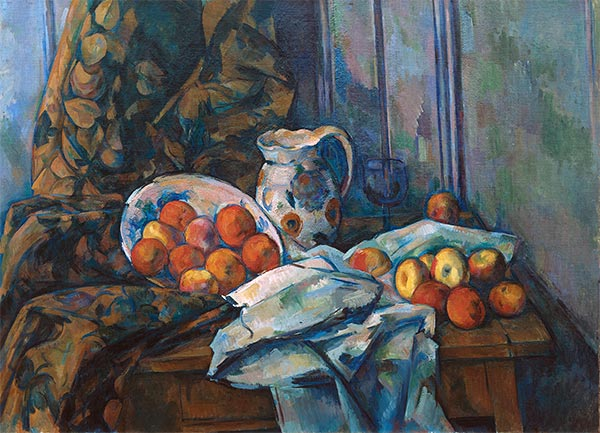Still Life with Faience Jug and Fruit, c.1900   Cezanne   Painting Reproduction