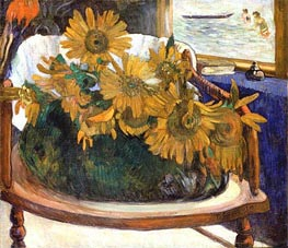 Still Life with Sunflowers on an Armchair, 1901 by Gauguin | Painting Reproduction