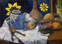 Still Life with Teapot and Fruit, 1896 by Gauguin | Painting Reproduction