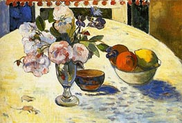 Flowers and a Bowl of Fruit, 1894 by Gauguin | Painting Reproduction