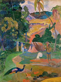 Matamoe (Landscape with Peacocks), 1892 von Gauguin | Gemälde-Reproduktion
