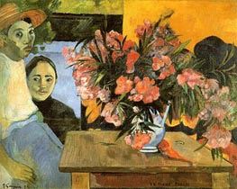Te Tiare Arani (Flowers of France), 1891 von Gauguin | Gemälde-Reproduktion