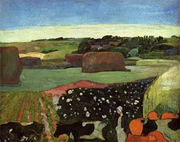 Haystacks in Brittany (The Potato Field) | Gauguin | Painting Reproduction