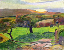 Breton Landscape - Fields by the Sea (Le Pouldu) | Gauguin | Gemälde Reproduktion