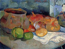 Still Life with Onions, Beetroot and a Print | Gauguin | Gemälde Reproduktion