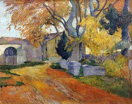 Lane at Alchamps, Arles, 1888 by Gauguin | Painting Reproduction