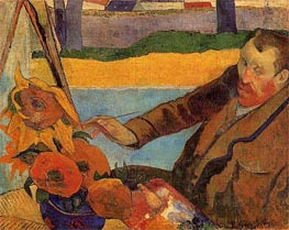 Portrait of Vincent van Gogh Painting Sunflowers, 1888 von Gauguin | Gemälde-Reproduktion