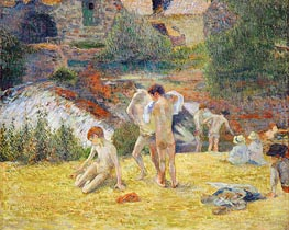 Boys from Britanny Bathing (Bath next to the mill in the Bois d'Amour), 1886 von Gauguin | Gemälde-Reproduktion