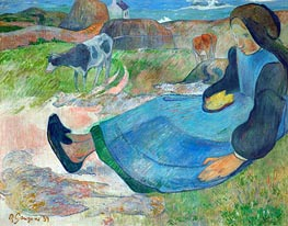 The Cowherd (Young Woman from Brittany), 1889 by Gauguin | Painting Reproduction