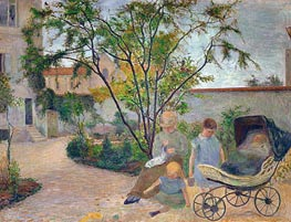 Garden in Vaugirard (The Artist's Family in the Garden in rue Carcel, Paris), 1881 von Gauguin | Gemälde-Reproduktion