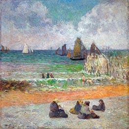 The Beach at Dieppe (The Bathers) | Gauguin | Gemälde Reproduktion