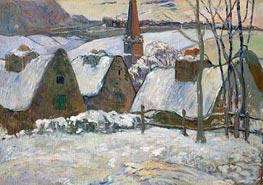 Village in Brittany in the Snow, 1894 von Gauguin | Gemälde-Reproduktion