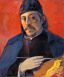 Self Portrait with Palette | Gauguin | Gemälde Reproduktion