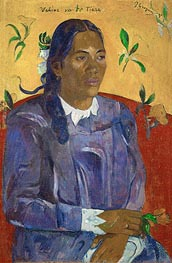 Vahine no te tiare (Tahitan Woman with Flower) | Gauguin | Gemälde Reproduktion