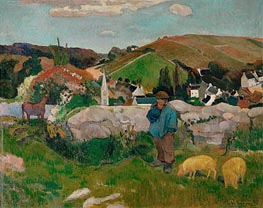 The Swineherd (Peasants with Pigs) | Gauguin | Gemälde Reproduktion