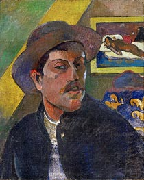 Self Portrait with Hat In the Background Manao Tupapau | Gauguin | Painting Reproduction