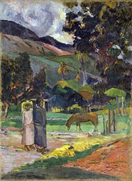Tahitian Landscape, undated by Gauguin | Painting Reproduction