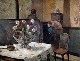 Still Life with Flowers (Interior of the Artist's Apartment on Rue Carcel, Paris), undated by Gauguin | Painting Reproduction