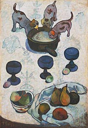 Still Life with Three Puppies, 1888 by Gauguin | Painting Reproduction