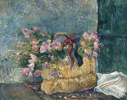 Still Life with Moss Roses in a Basket, 1886 by Gauguin | Painting Reproduction